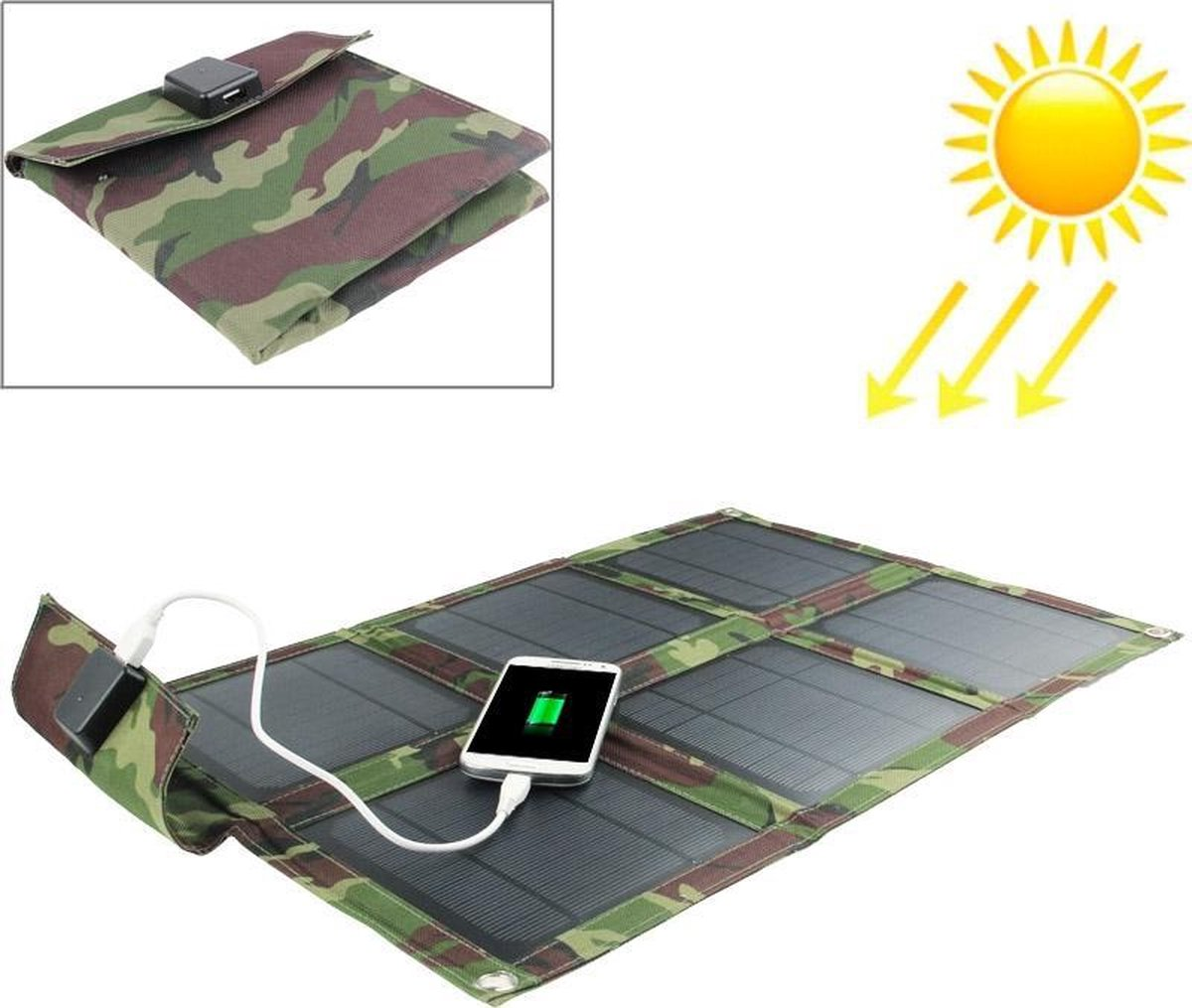 15 W Portable Folding Solar Panel / Solar Charger Bag voor laptops / mobiele telefoons